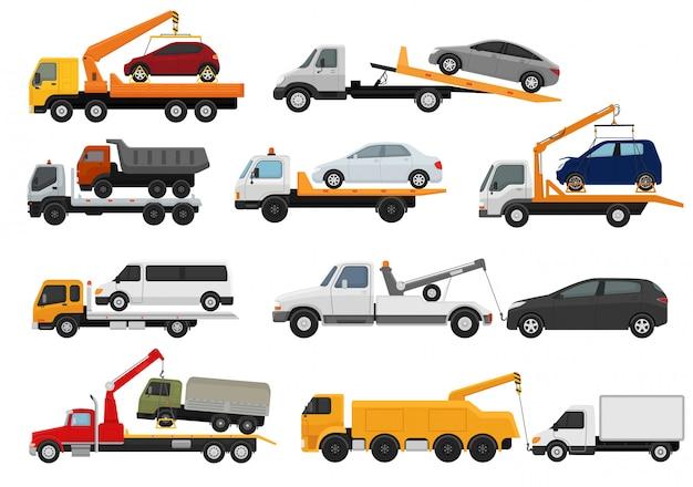 Эвакуатор эвакуатор автомобиль грузоперевозки транспортное средство транспорт буксировка помощь на дороге иллюстрации набор буксируемого автотранспорта на белом фоне