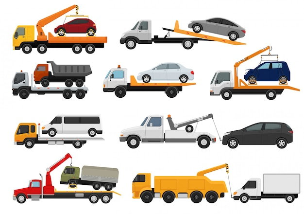 Tow truck towing car trucking vehicle transportation towage help on road illustration set of towed auto transport isolated on white background