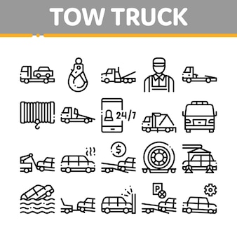 Tow truck transport collection icons set