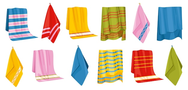 Towel bath set of isolated icons with images of hanging bathing towels with various colorful patterns illustration