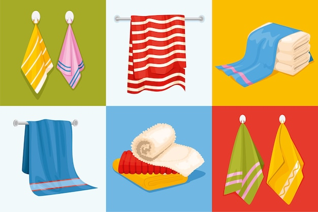 Towel design concept with six square compositions with stacked and hanging towel