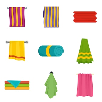 Towel hanging spa bath icons set vector isolated