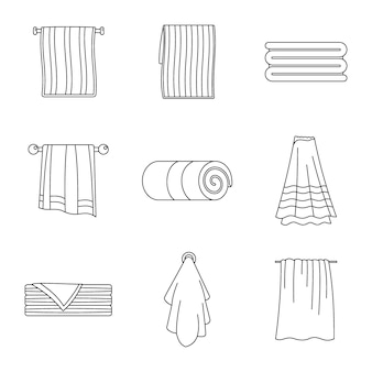 Towel hanging spa bath icons set