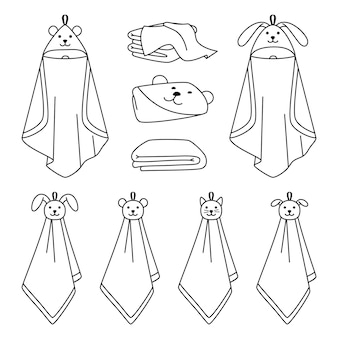 Полотенце иконки линии наброски. мультяшные сухие чистые предметы для ванной, рисованные милые чистые предметы для сушки в ванной, векторная иллюстрация полотенец, изолированные на белом фоне