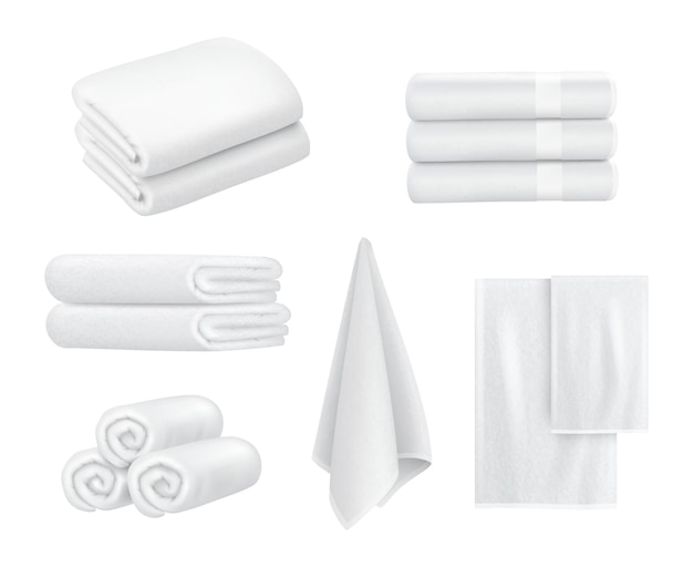Towel stack. luxury hotel textile items for bathroom sport or resort spa hygiene items white towels vector collection realistic. fabric stack soft, fluffy washcloth stacked illustration