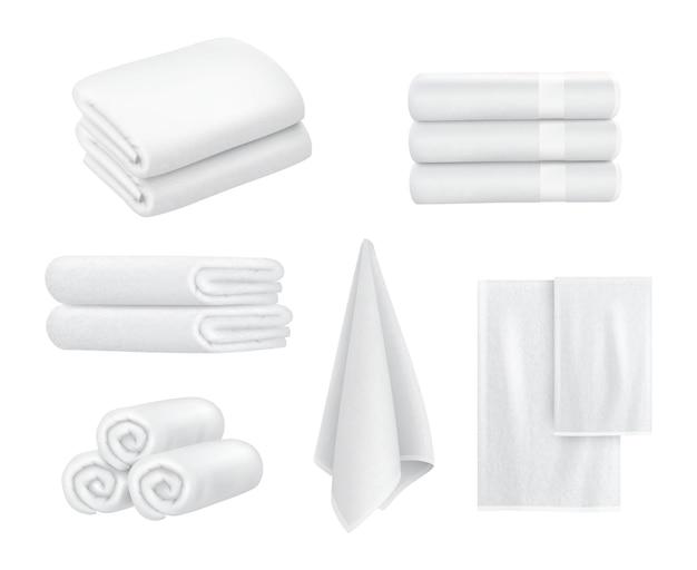 수건 더미. 욕실 스포츠 또는 리조트 스파 위생 용품을 위한 고급 호텔 직물 품목 흰색 수건 벡터 컬렉션은 현실적입니다. 패브릭 스택 부드럽고 푹신한 수건 스택 일러스트