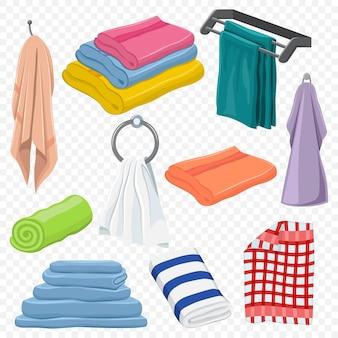 수건 세트 : 교수형, 흰색, 해변, 롤, 스파, 주방, 목욕 및 기타. 고립 된 만화 클립 아트
