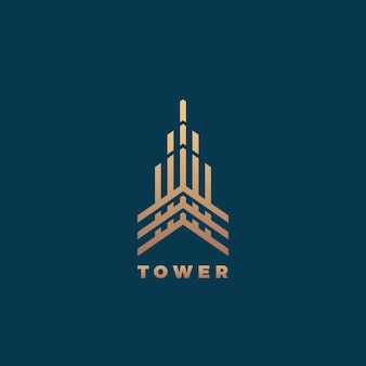 Tower abstract geometry minimal  sign, symbol or logo template. premium line style building concept. real estate emblem. dark background.