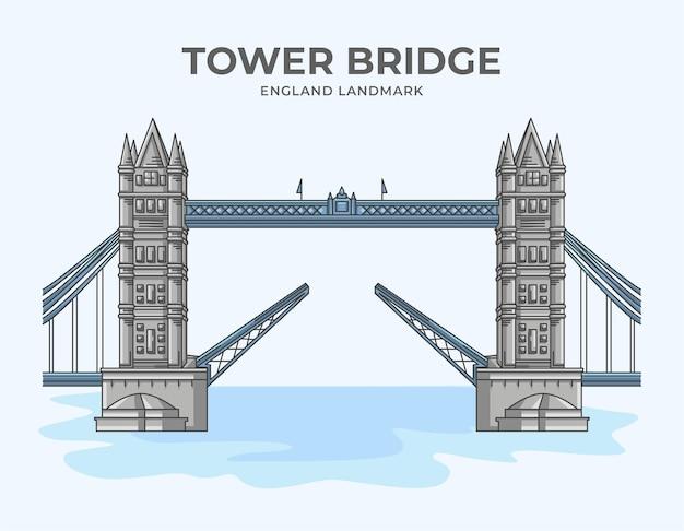 Тауэрский мост англия достопримечательность минималистская иллюстрация