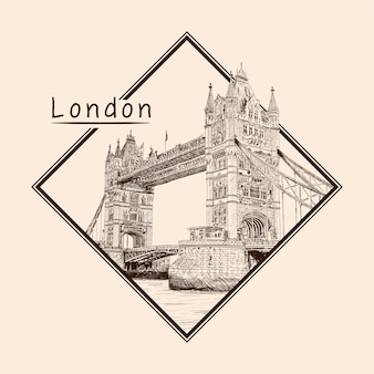 Tower bridge in london across the river thames. pencil sketch on a beige background. emblem in a rectangular frame and an inscription.