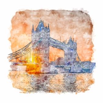 Tower bridge london watercolor sketch hand drawn illustration