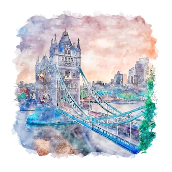Tower bridge london watercolor sketch hand drawn illustration