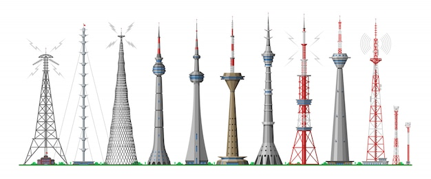 Tower  global skyline towered antenna construction in city and skyscraper building with network communication illustration cityscape set of towering architecture  on white background
