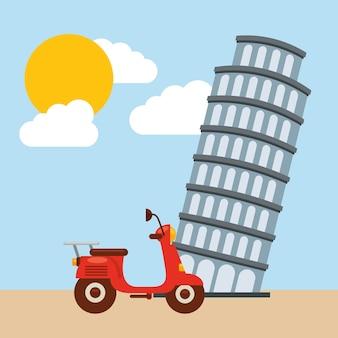 Пизанская башня. италия дизайн культуры. векторная графика