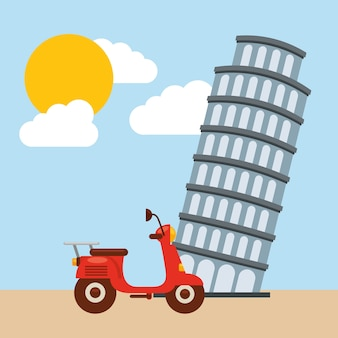 Tower of pisa icon. italy culture design. vector graphic
