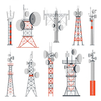 Tower and stations supplying electricity set of buildings