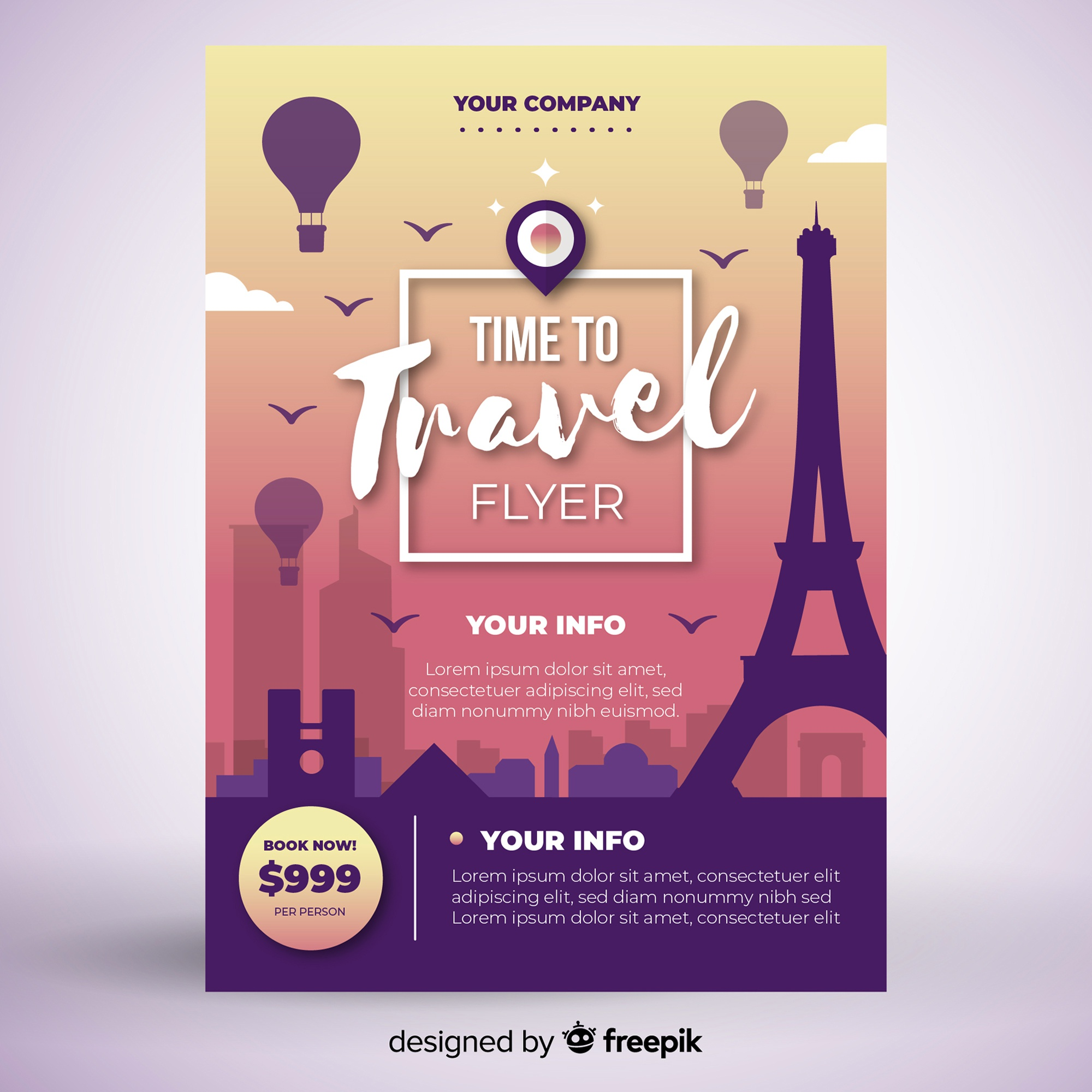 Tower travel poster template