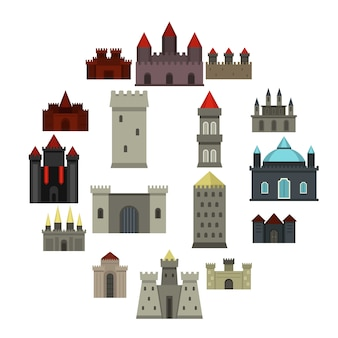 Towers and castles icons set in flat style