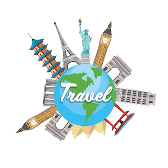 Towers destination travel and global map