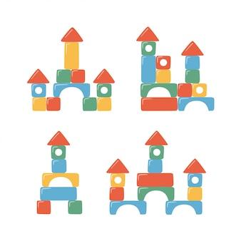 Башни из детских игрушечных кубиков. разноцветные детские кирпичи для строительства и игр.