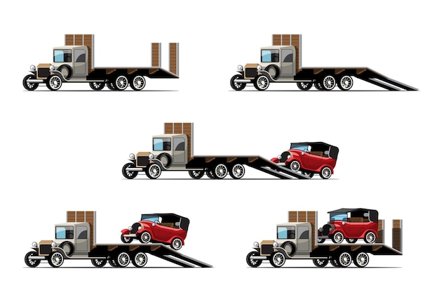 견인 자동차 세트