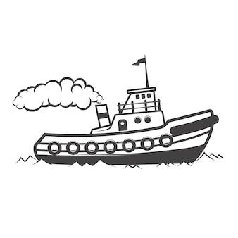 Иллюстрация буксировочного корабля на белой предпосылке. элементы для логотипа, этикетки, эмблемы, знака. иллюстрация