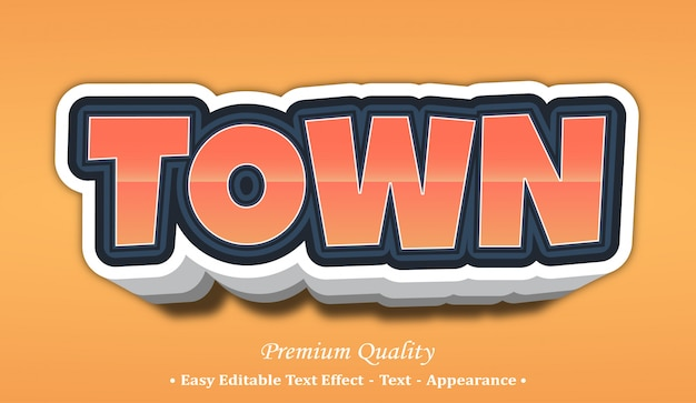 Town 3d font style effect
