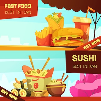 Town best fast food restaurant 2 horizontal advertisement banners set with sushi cartoon