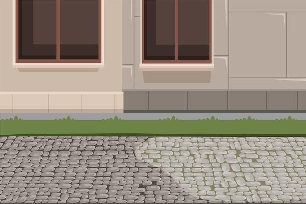 町の建物の外観と舗装の背景、家のファサードの地下室、芝生と石の歩道のイラスト。