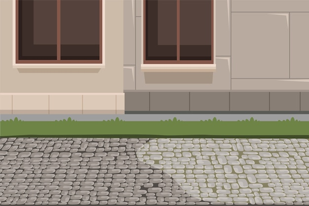 Town building exterior and pavement background, house facade basement, grass lawn and stone footpath illustration.