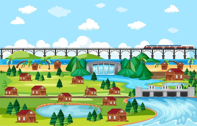 Town or city and bridge train landscape scene in cartoon style