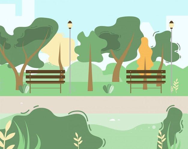 Town and city park scene with green trees, bushes, wooden benches
