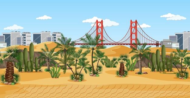 Town in desert nature landscape scene
