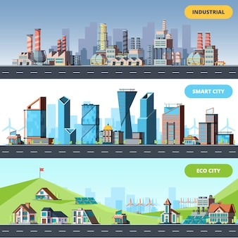 Town flat. ecology industrial smart city architectural objects different buildings factory horizontal illustrations
