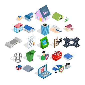 Town hall icons set, isometric style