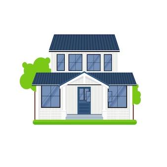 Таунхаус, коттедж и различные объекты недвижимости, плоский набор иконок, изолированных векторная иллюстрация