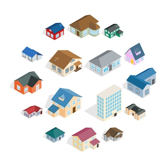 Town house cottage set, isometric style
