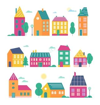 타운 하우스. 만화 평면 귀여운 다채로운 도시의 다양한 건물 현대적이고 복고풍 타운 하우스