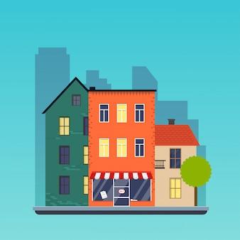 Town houses. urban landscape city. flat design modern illustration concept.