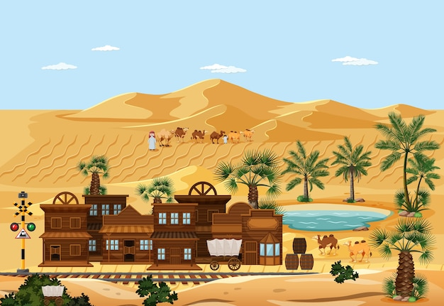 砂漠の自然景観シーンの町