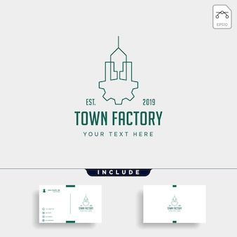 Town industry logo design home factory vector icon isolated
