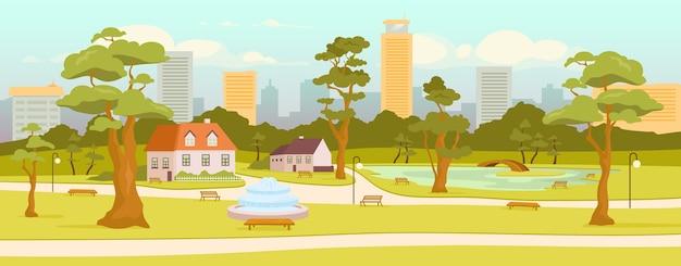 タウンパークフラットカラー。市のレクリエーションゾーン。村の広場。屋外休憩。地平線上の高層ビル。通りや家の背景に木がある2d漫画の風景