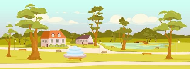 Городской парк плоского цвета. городская зона отдыха. деревенская площадь. отдых на природе. улицы и дома 2d мультяшный пейзаж с деревьями, скамейками и прудом с мостом на заднем плане