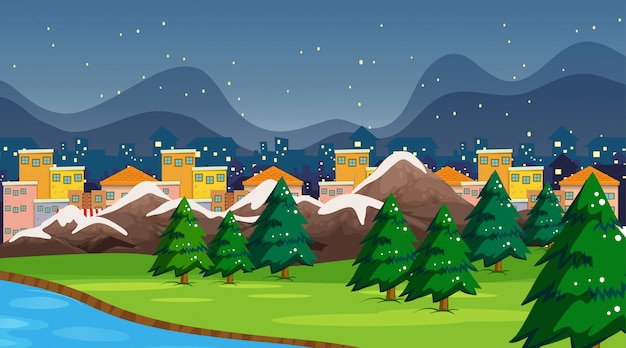 Town and park scene or background with snow