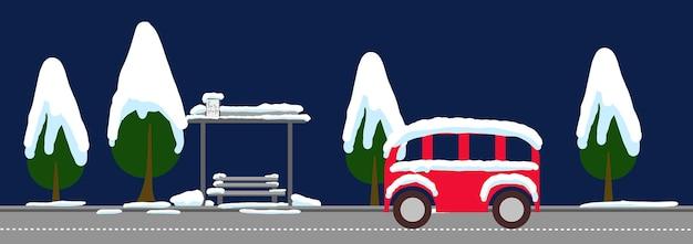 町のはがきの夜冬の町のbunner都市の冬の風景街並みベクトルイラスト