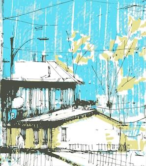 마을 거리 장면 손으로 그린.