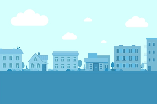 さまざまな建築様式の建物都市景観道路と低層住宅のある町の通り