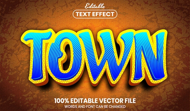 Town text, font style editable text effect