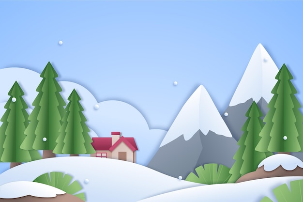 Town in winter in paper style background