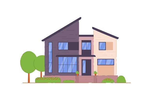 Townhouse building  on white background